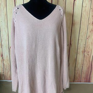A.n.a womens Sweater Size 1X Loose Knit PINK Pull